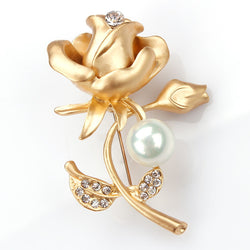 New Stylish Metal Rose Flower Brooches encrusted with crystal and simulated pearl for girlfriend lover and Valentine's Day - onlinejewelleryshopaus