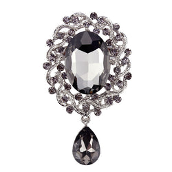New Arrival Grey Crystal Diamante Erin Elizabeth Vintage Drop Brooch Pins for Women in Silver Plated - onlinejewelleryshopaus