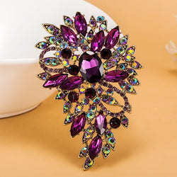Luxurious champagne Stars Purple Brooch Bouquet Shiny Brand Austrian Crystal Hijab Pins And Broaches Very Nice Christmas Broches - onlinejewelleryshopaus