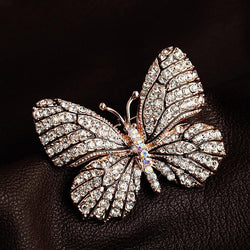 High Quality Fashionable Rhinestone Butterfly Brooch Pin Gold Women Dress Wedding Bridal Brooch Pin - onlinejewelleryshopaus