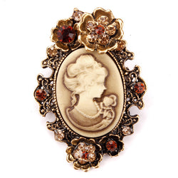 Crystal Rhinestones Flower Encrusted Cameo Brooches in antique plated FREE SHIPPING to Around the world - onlinejewelleryshopaus