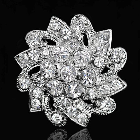 10pcs/lot Brooches For Wedding Broches Fashion Vintage Women Rhinestone Brooch Crystal Flowers silver Brooches Pins - onlinejewelleryshopaus