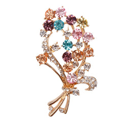 Factory Direct Sale Quality Gold Plated Crystal Diamante Bouquets Flower Brooch Pins for Women in Assorted - onlinejewelleryshopaus