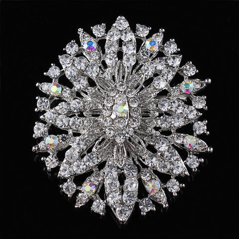 2015 new arrival wedding fine jewelry oval shape large crystal flower rhinestone brooches for women - onlinejewelleryshopaus
