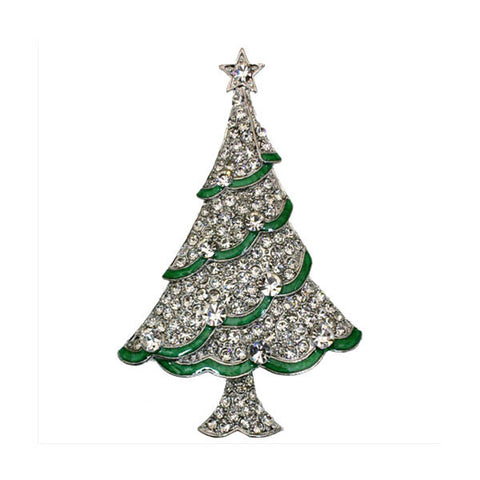 "2.25"" Elegant Merry Christmas Tree Brooch with Shiny Rhinestone Crystals - onlinejewelleryshopaus"