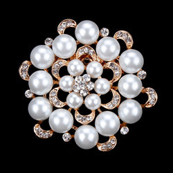 High Quality Bunch Imitation Pearls and Crystal Rhinestones Wedding Brooches & Pins for Women in Rhodium Finished - onlinejewelleryshopaus