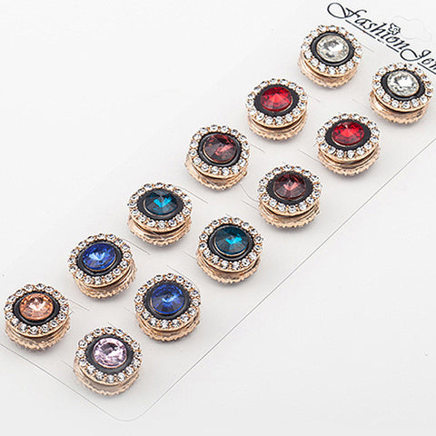 12pcs/lot Random Mix Luxury Crystal Muslim Brooch Women Magnetic Scarf Buckle Color Mix High Quality - onlinejewelleryshopaus