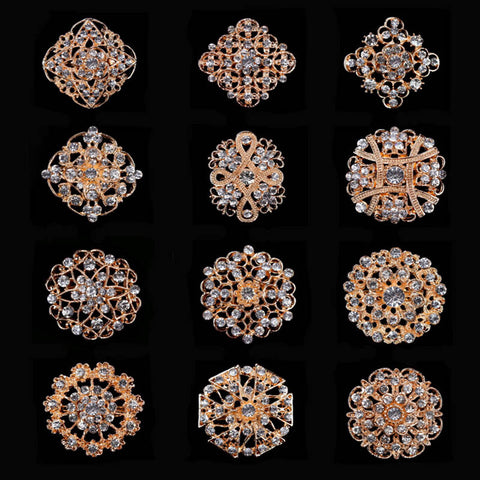 12 Mixed in a Card  Clear Crystal Diamante Gold Plated Brooch Pins for DIY Wedding Bridal Bouquets - onlinejewelleryshopaus