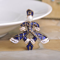 New Fashion Esmalte Enamel Figure Brooches Pin Up Gold Simulated Pearl Royal Blue Shawl Clips Wedding Bouquet Lapel Pin Men - onlinejewelleryshopaus