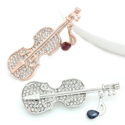 2017 Violin Crystal Rhinestone Brooch Gold/White Gold Plated Women Brooch BR1055 - onlinejewelleryshopaus