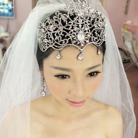 2015 fashion large crystal Bridal tiara wedding hair jewelry women Pageant crowns clearance wedding hair accessories - onlinejewelleryshopaus