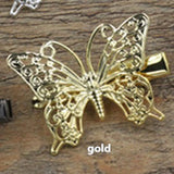 20 Pieces Filigree Metal Flower Butterfly Hair Clip 6 Colors Plated Wholesale Vintage Hair Jewelry Hairpin - onlinejewelleryshopaus