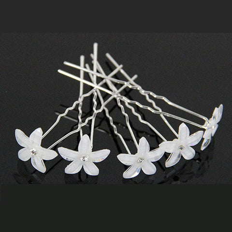 20 pieces/Lot Fashion U Shape Crystal Hair Fork Flower Hair Pin Sticks For Women Wedding Bridal Hair Accessories Jewelry - onlinejewelleryshopaus