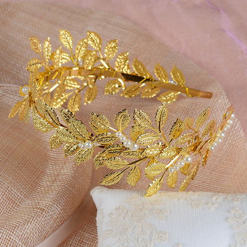 Women Girls Boho Jewelry Leaf Headband Gold Hair Leaf Crown Tiara Golden Headbands Feuille or Couronne Cheveux Hair Band HG077 - onlinejewelleryshopaus