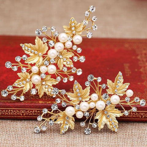 1pair pearl gold leaves hairclip Korean bride hair jewelry gold crystal pearl exquisite barrettes bride headdress wholesale - onlinejewelleryshopaus