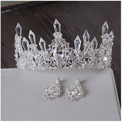 Clear Ice Queen Crown Tiara Retro Bridal Hair Tiara Jewelry Banquet Party Hair Accessories - onlinejewelleryshopaus