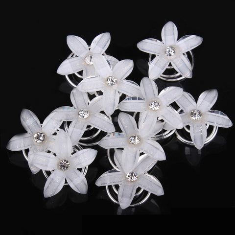 12 PCS Princess Crystal Hair Clips Rhinestone Flower Swirl Spiral Hair Pins Hairpin For Women Bride Wedding Jewelry Accessories - onlinejewelleryshopaus