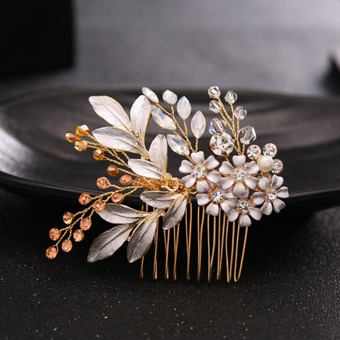 1pc Floral Wedding Hair Comb Sparkling Gold Plated Crystal Enamel Flower Bridal Tiara Hairpin Jewelry Hair Accessories New - onlinejewelleryshopaus