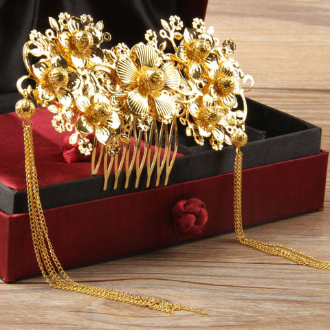 2 Styles Chinese Traditional Wedding Jewelry Bridal Tiara Comb Frontlet Coronet Vintage Hair Accessories Gold Plated Headdress - onlinejewelleryshopaus