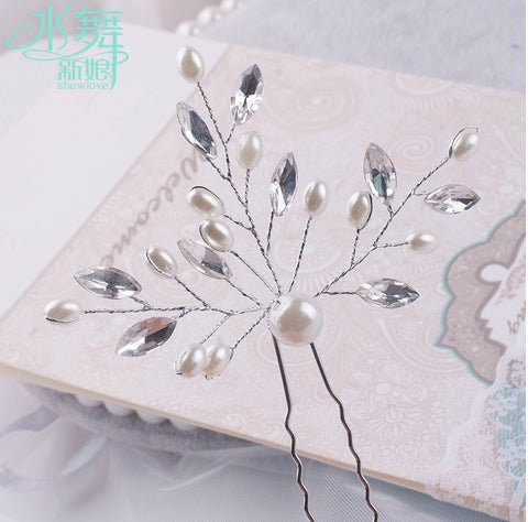 12pcs/lot simulated pearl handmade hairpins bridal hair sticks rhinestone wedding hair jewelry  insert wedding hair accessories - onlinejewelleryshopaus