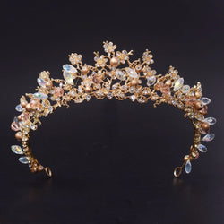 Handmade golden bridal crowns vintage wedding hair jewelry beauty headband tiaras crystal gold pearl prom tiaras - onlinejewelleryshopaus