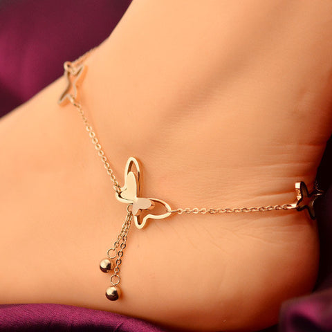 2016 Delicate Butterfly Anklet Rose Gold Titanium Steel Chain Bracelet Women Girl Lover Barefoot Fashion Foot Chain Jewelry - onlinejewelleryshopaus