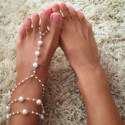 Dvacaman Vintage Charm Bridal Barefoot Sandals Pearl Multi-Layer Anklet Wedding Beach Foot Jewelry 9624 - onlinejewelleryshopaus