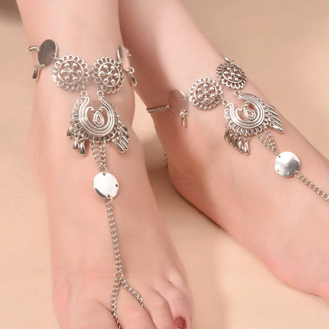 1PC Bohemian New Women Ankle Bracelets Vintage Foot Jewelry Carved Hollow Pattern Chain Anklets FC038 - onlinejewelleryshopaus