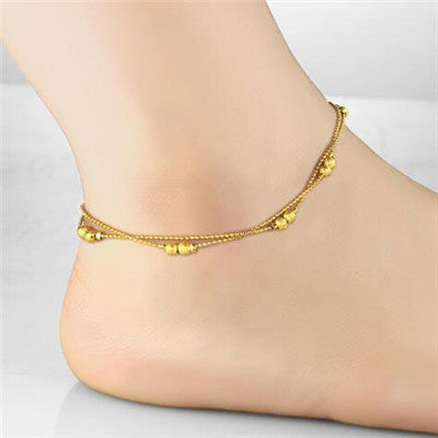 gold anklet beads enkelbandje tornozeleira jewelry item leg for foot ankle tobilleras bracelets women black pulseras bracelet