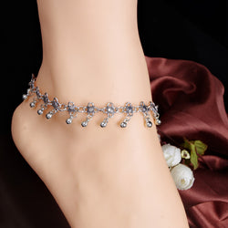 New Charm Anklets for Women Vintage Foot Jewelry Ancient Silver Plated Flower Ankle Chain Bracelet - onlinejewelleryshopaus