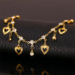 Anklet Foot Jewelry Color Rhinestone Heart-Pattern gold Plated Anklets For Women Legs Accessories A201 - onlinejewelleryshopaus
