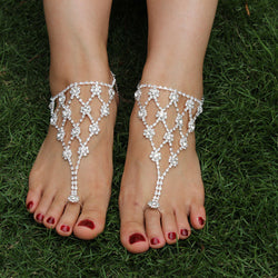 Barefoot Rhinestone Sandal Silver Ankle Chain Bridal/Wedding Diamante Anklet Foot Jewelry 1PC 1K4023 - onlinejewelleryshopaus