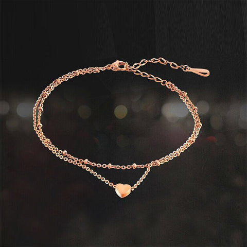 11.11 News foot anklet heart gold foot chain heart anklet chain leg wedding barefoot sandals foot jewelry titanium love anklet - onlinejewelleryshopaus