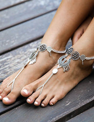 Gypsy Antique Silver Turkish Coin Waterdrop Tassel Anklet Ankle Bracelet Beach Foot Jewelry Summer Women Anklets - onlinejewelleryshopaus
