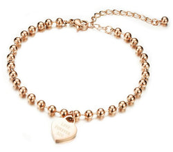 Romantic Love pendant Rose Gold Plated Stainless Steel Women Anklet, Ladies Foot Chian Ankle Bracelet Jewelry Accessories,GZ808 - onlinejewelleryshopaus