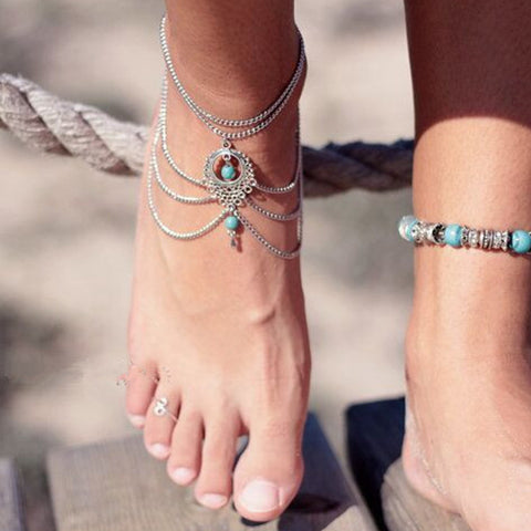 1PC Hot Summer Ankle Bracelet Bohemian Foot Jewelry Water Drop Turquoise Hollow Out Alloy Anklets For Women J0124 - onlinejewelleryshopaus
