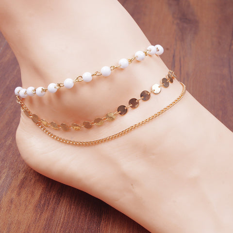 New Arrival Multilayer pearl gold sequined coin ankle ankets bracelet for women foot chain beach anklet bracelets for leg a34 - onlinejewelleryshopaus