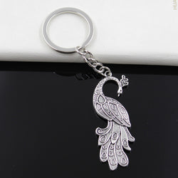 99Cents Keychain 61*21mm peacock Pendants DIY Men Jewelry Car Key Chain Ring Holder Souvenir For Gift - onlinejewelleryshopaus
