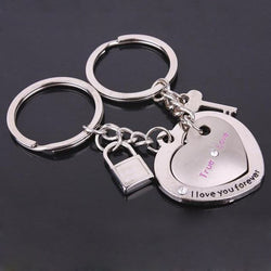 1 Pair Love Heart Keyring Couple Keychain Key Ring Key Chain Keyfob Lover New - onlinejewelleryshopaus