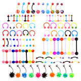 100 pcs body jewelry piercing bulk kit for nose lip tongue eyebrow navel belley button women 14g(1.6MM) Multi Color - onlinejewelleryshopaus