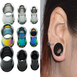 1 Pair Hollow Stainless Steel Flesh Ear Plugs and Tunnels Screw Ear Gauges Expanders and Stretchers Ear Piercing Body Jewelry - onlinejewelleryshopaus