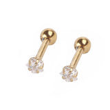1 Pair Unisex 2016 Round Star Shape Rhinestone Ball Barbell Ear Piercing Earrings Body Jewelry - onlinejewelleryshopaus