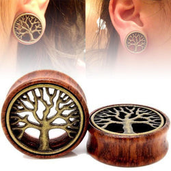 1Pair Wooden Ear Tunnels Plugs Buddha Gauge Expanders Tree Of Life Ear Taper Stretcher Piercing Body Jewelry 18-20mm - onlinejewelleryshopaus