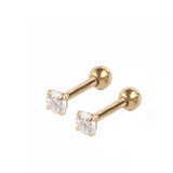 1 Pair Unisex Fashion Round Star Shape Rhinestone Ball Barbell Ear Piercing Earrings Body Jewelry - onlinejewelleryshopaus