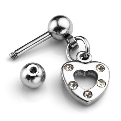 18G 6MM Stainless Steel Heart Shape Crystal Barbell Helix Cartilage Stud Tragus Ring Earrings Piercing Body Jewelry - onlinejewelleryshopaus