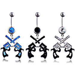 Double gun style drip Navel Ring Navel Ring Cubic Zirconia Piercing Belly Rings Body Jewelry Wholesale #NB0039 - onlinejewelleryshopaus