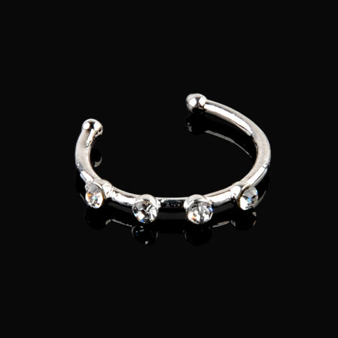 1pc Small Thin Silver Plated Crystal Nose Hoop Nose Ring Body Piercing Jewelry For Women Girls Body Jewelry - onlinejewelleryshopaus