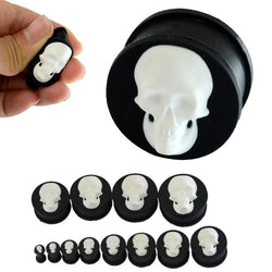 52pcs/lot Black Silicone Ear Tunnel Plugs Flexible White Skull Ear Flesh Tunnels Ear Plugs Gauges Earlets Body Jewellery - onlinejewelleryshopaus