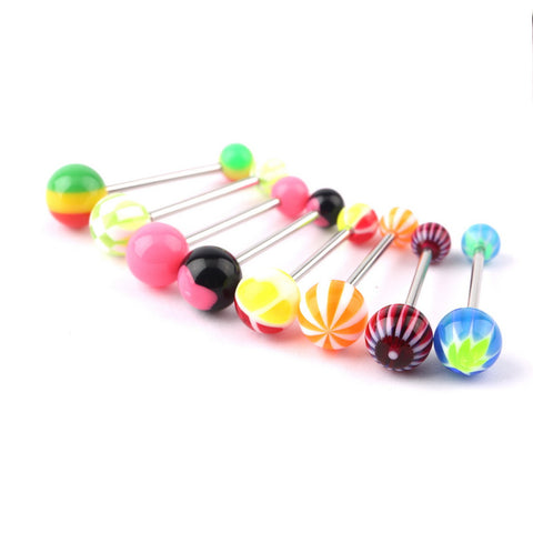 50pcs/Lot Ball Assorted Tongue Nipple Bar Ring Barbell Piercing Tongue Body Jewelry New Hot Selling - onlinejewelleryshopaus