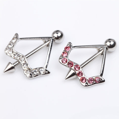 Trendy Cupid'S Bow & Arrow Design Nipple Ring Decorated By Crystals Pink/White Hot Piercing Body Jewelry Drop shipping - onlinejewelleryshopaus